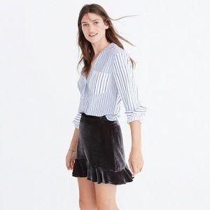 Madewell Black Velvet Ruffle Edge Skirt